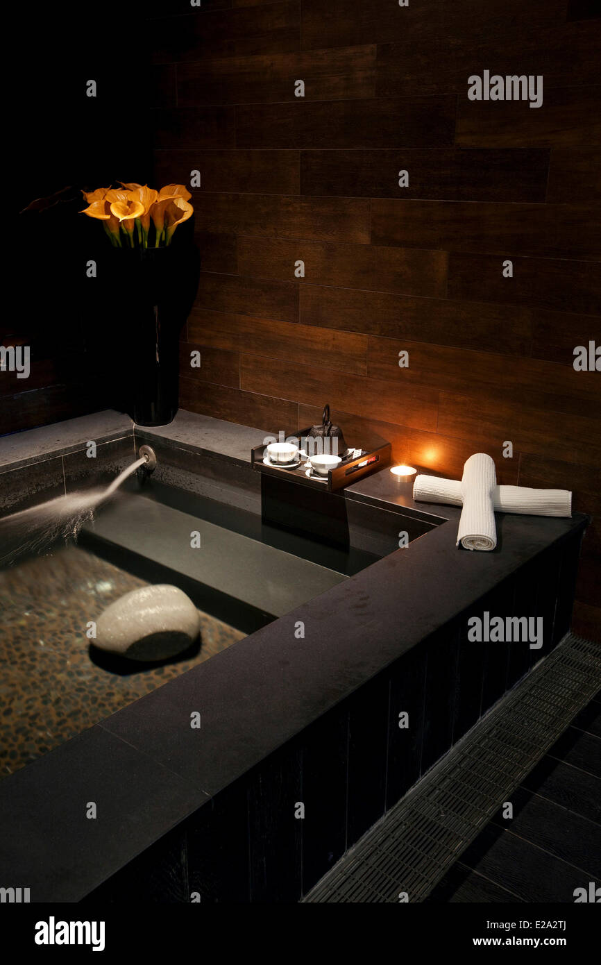 France, Alpes Maritimes, Cannes, Hotel Radisson Blu, thalassotherapy center and spa, Japanese bathroom - Stock Image