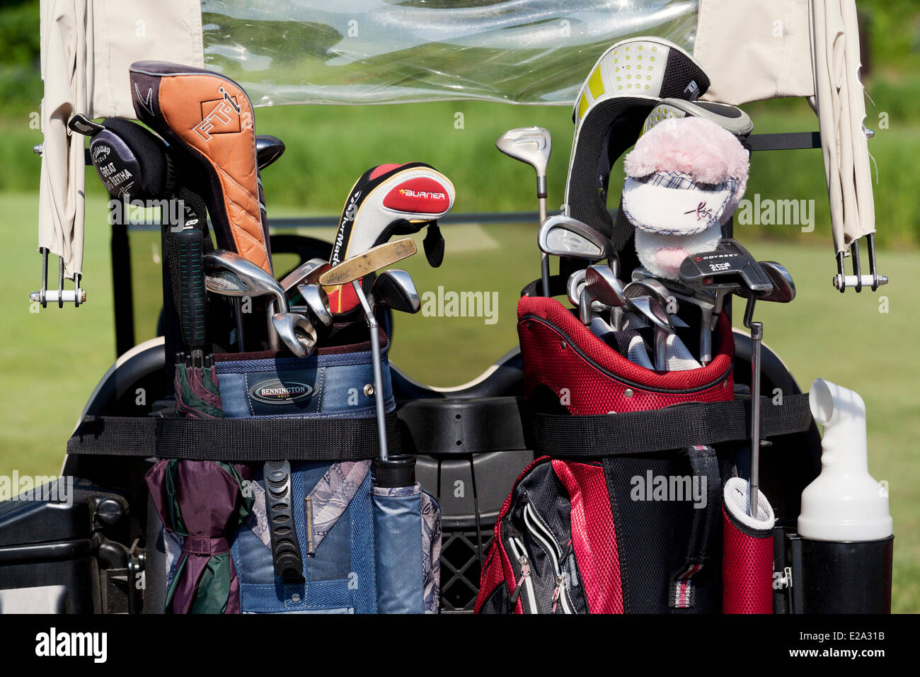 Canada, Quebec Province, illustration, golf bags and golf clubs - Stock Image