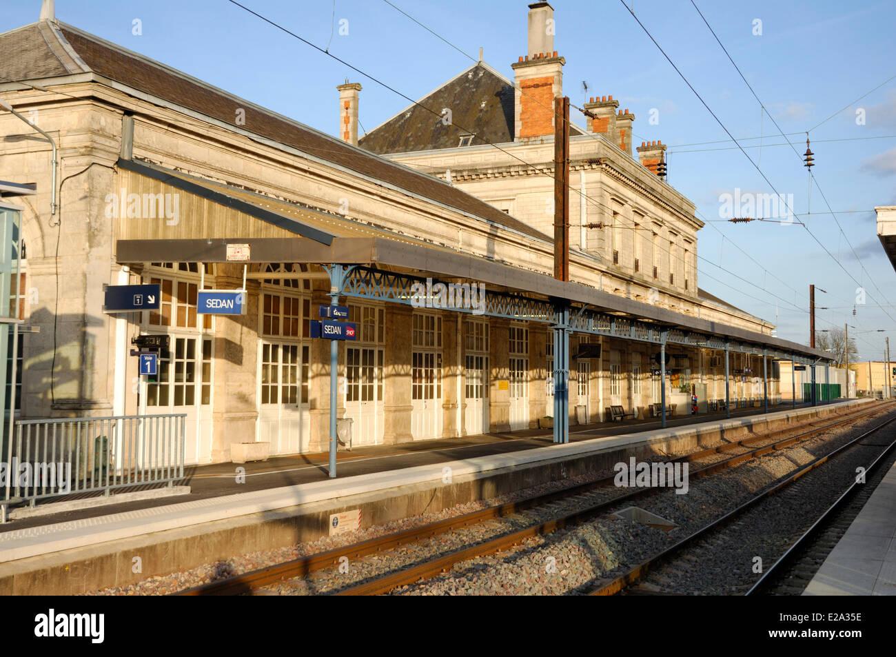 France, Ardennes, Sedan, Railway Train Station (SNCF) - Stock Image