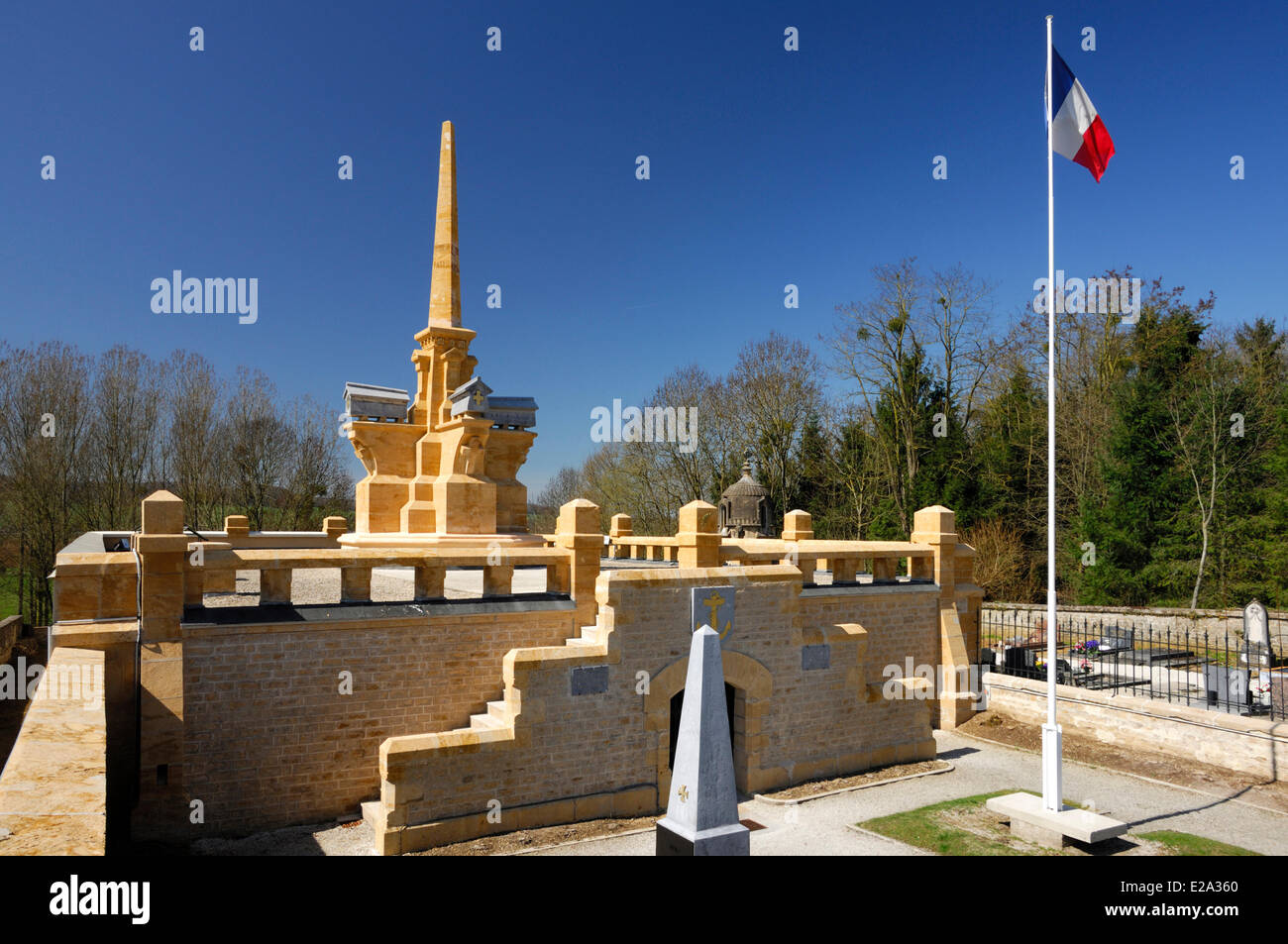 France, Ardennes, Bazeilles, Bazeilles ossuary and crypt containing The Remains of more Than 2000 fallen soldiers - Stock Image