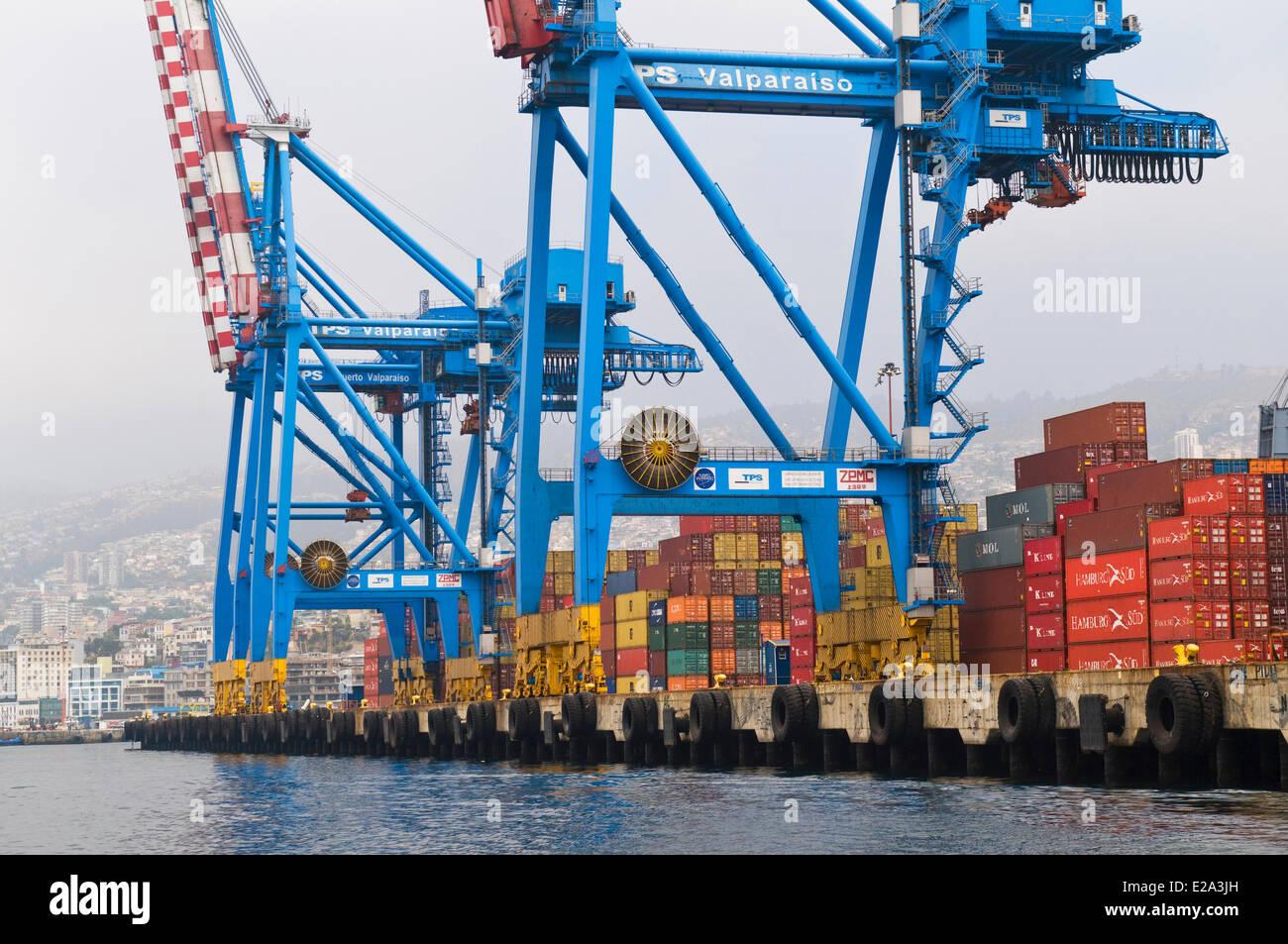 Chile, Valparaiso Region, Valparaiso, harbour - Stock Image