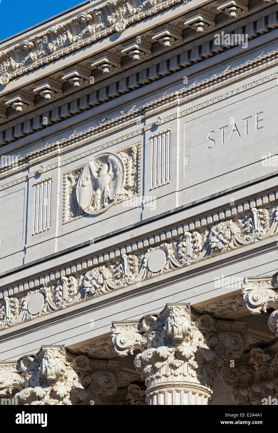 United States, New York state, Albany, the state capital, the pediment of the New York State Department of Education - Stock Image