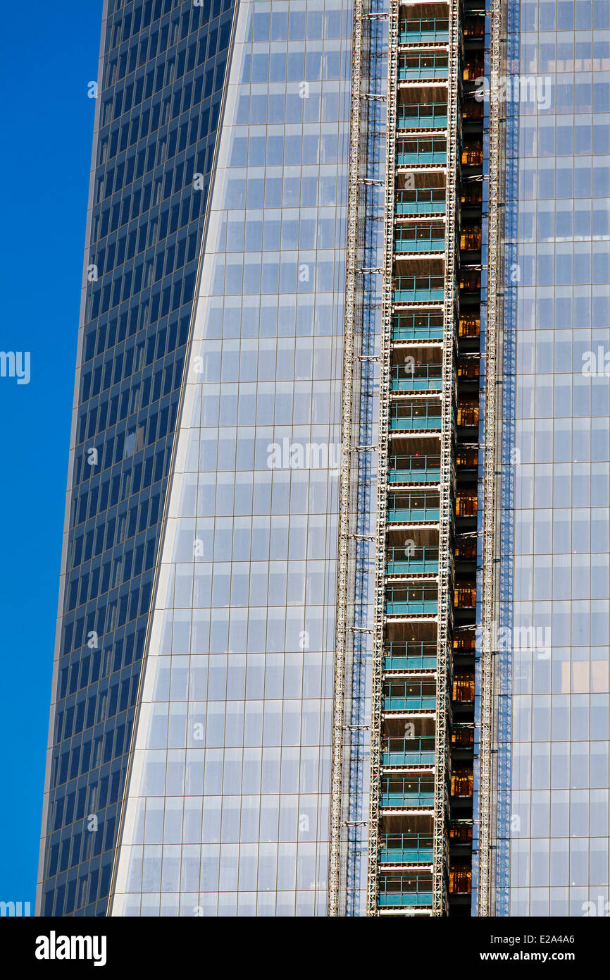 United States, New York, Manhattan, the World Trade Center, the tower One World Trade Center being constructed on - Stock Image