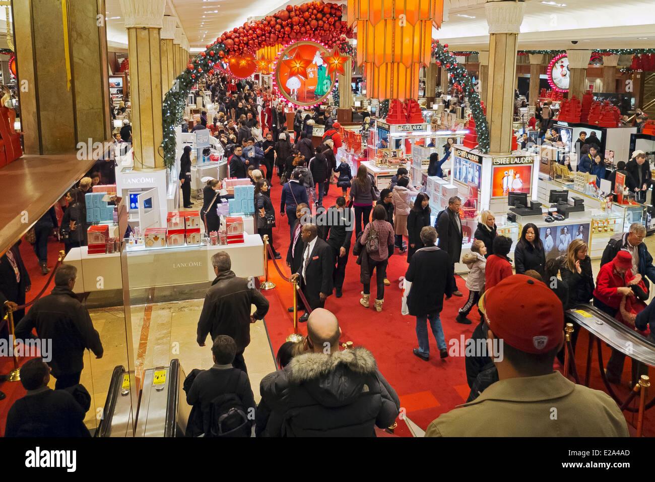 United States, New York, Manhattan, Macy's department store Christmas decorations - Stock Image