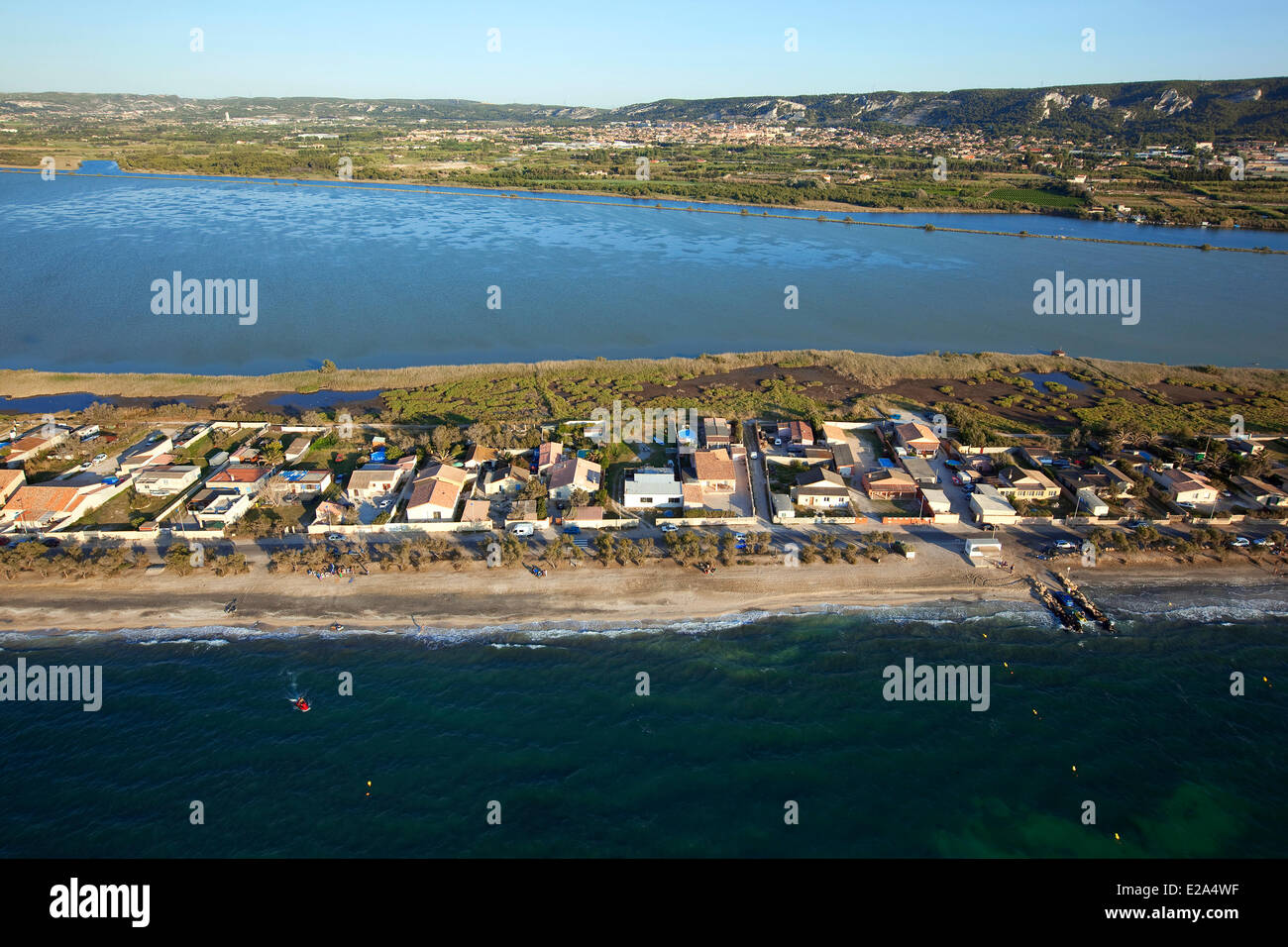 France, Bouches du Rhone, Marignane, Jai beach between the pond Bolmon (second place) and the Etang de Berre (aerial - Stock Image