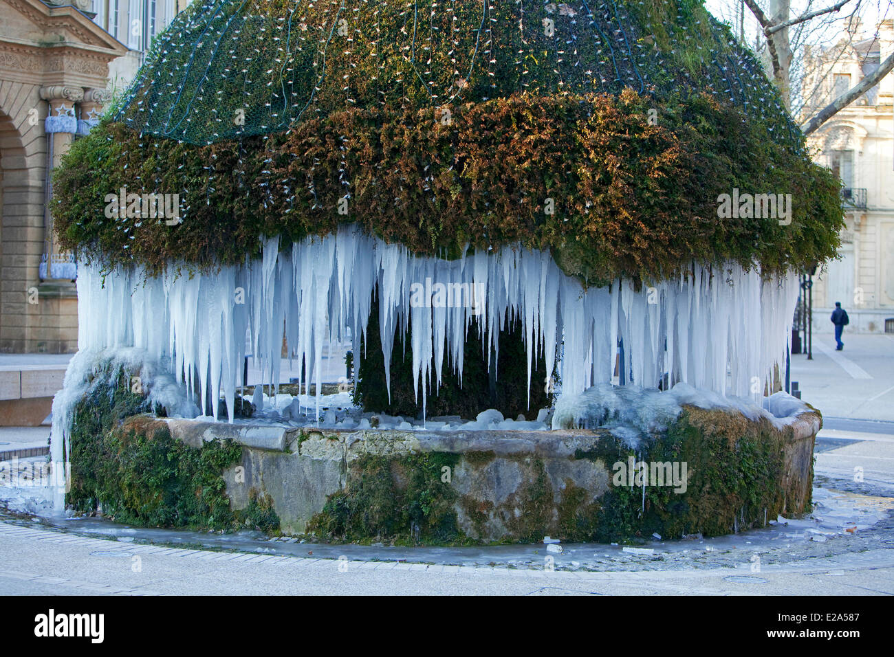 France, Bouches du Rhone, Salon de Provence, instead Crousillat, mossy fountain of the 16th century - Stock Image