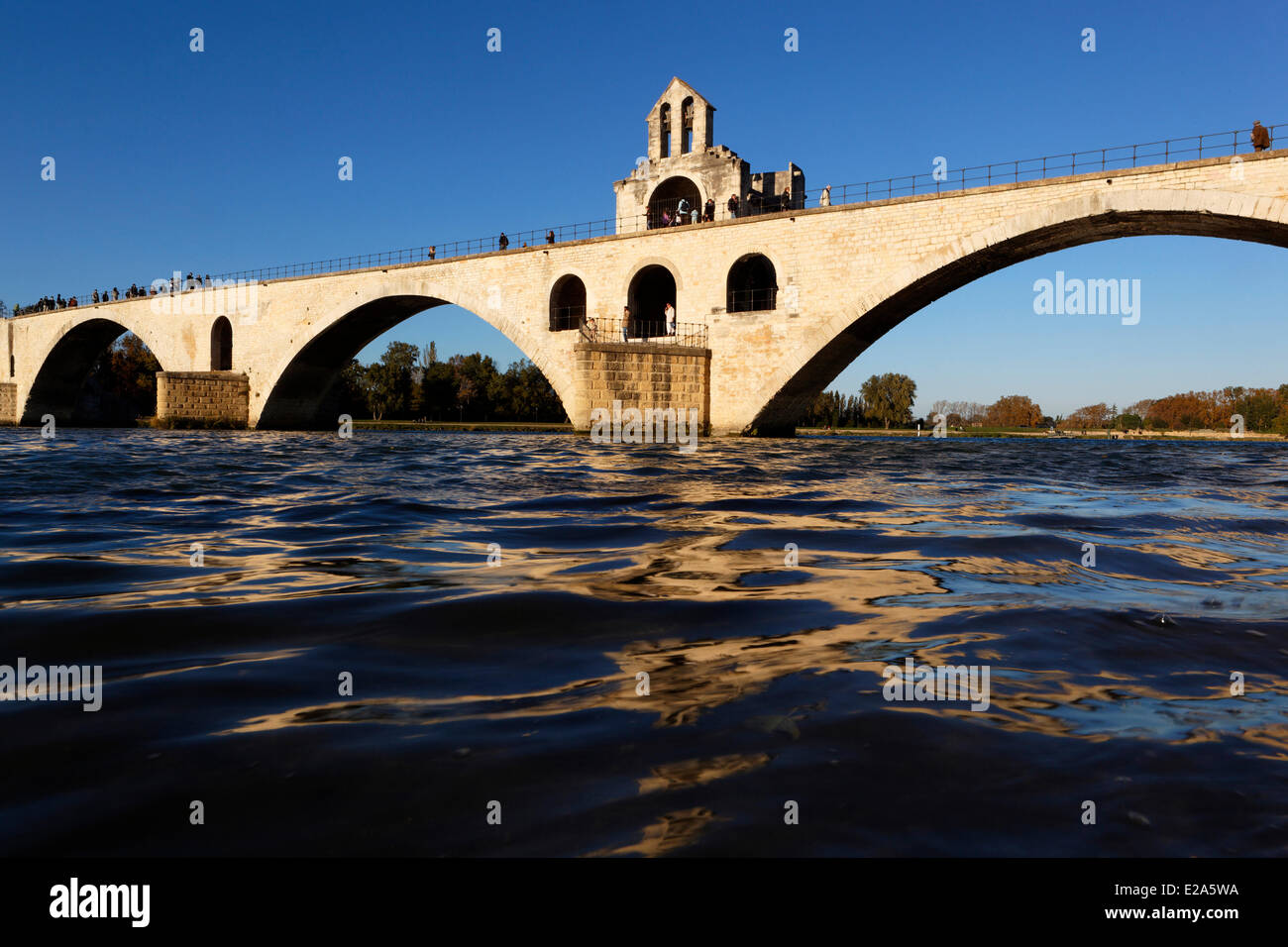 France, Vaucluse, Avignon, bridge of Saint Benezet of the 12th century, listed as World Heritage by UNESCO , and - Stock Image