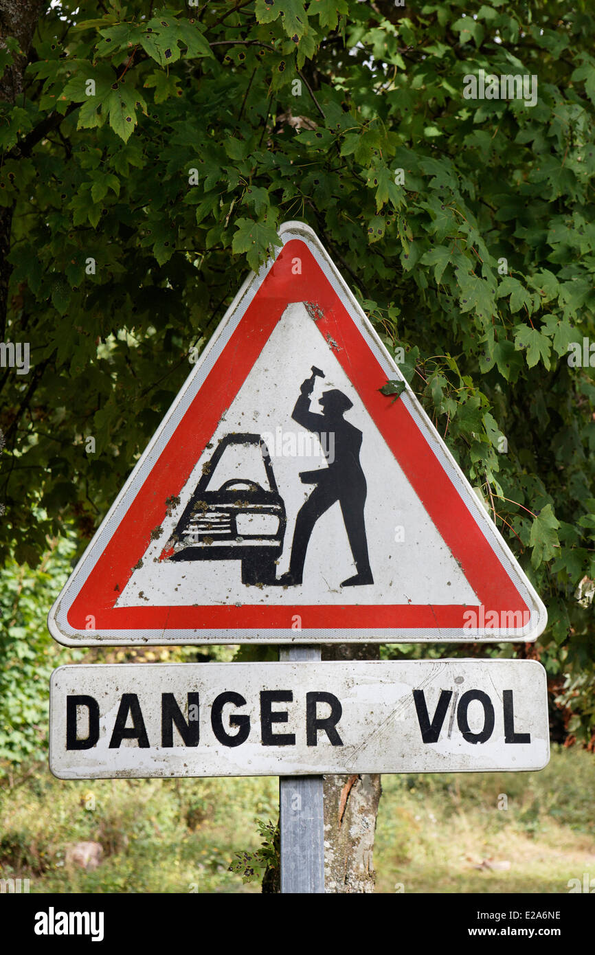 France, Bas Rhin, sign caution for robbery - Stock Image