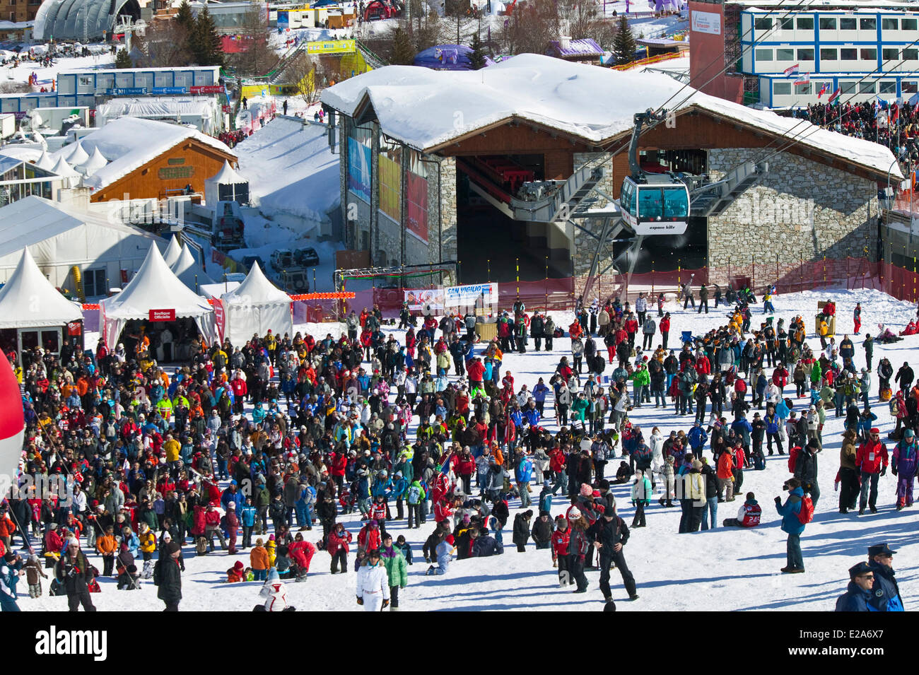 France, Savoie, Val d'Isere, route of the criterion, test World Cup super combined man on the face Olympique - Stock Image