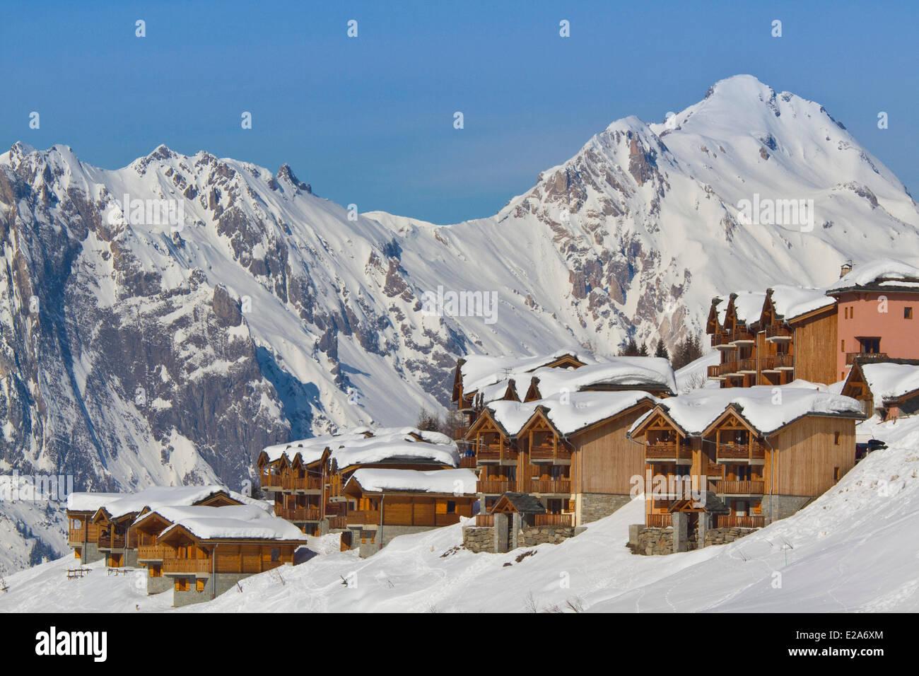 france, savoie, maurienne valley, valmeinier ski resort stock photo