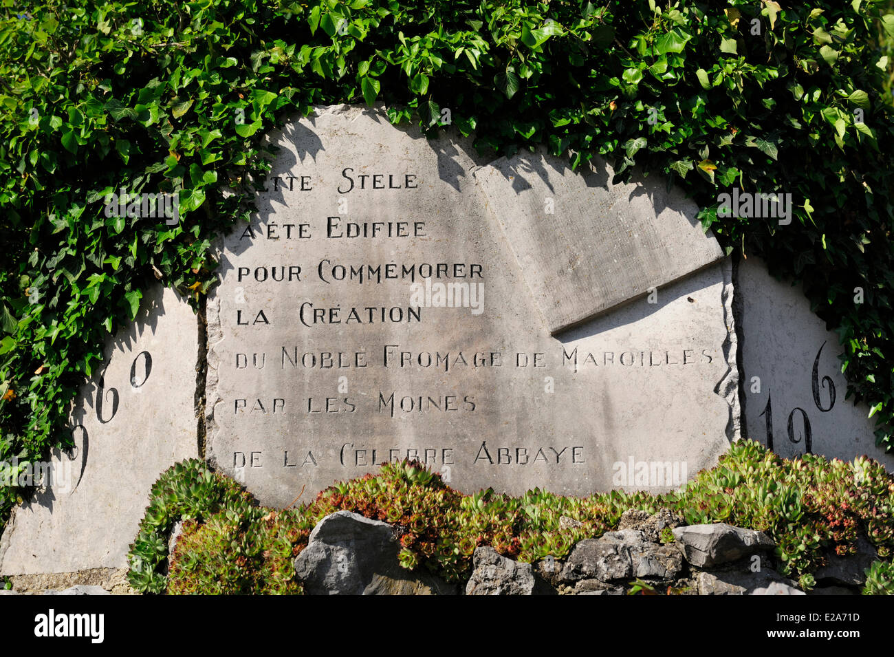 France, Nord, Maroilles, memorial stone to the creation of Maroilles Cheese by the Abbey monks - Stock Image