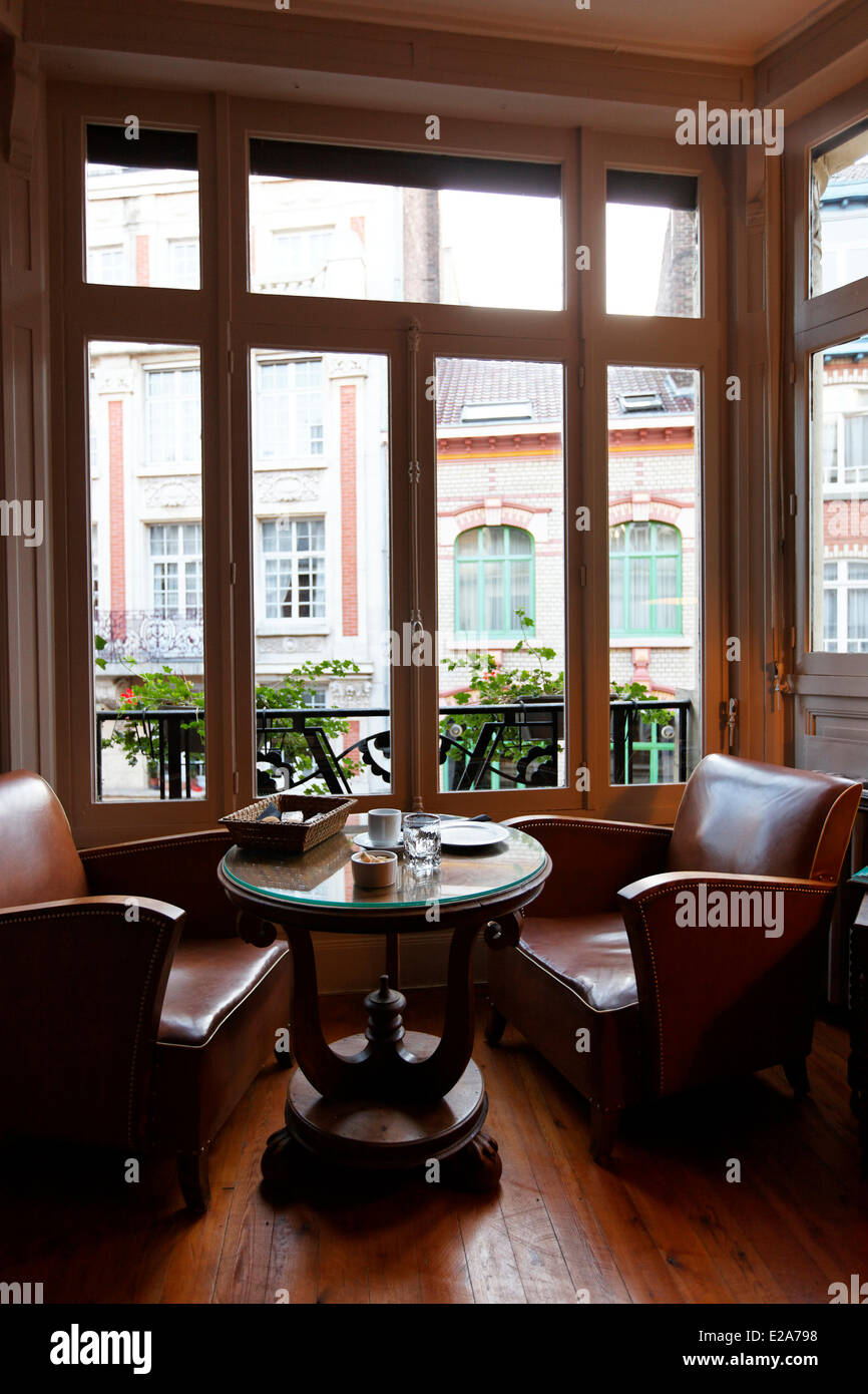 France, Nord, Lille, La Villa 30, a house with floors transformed into bed and breakfast right in the heart of Lille, - Stock Image