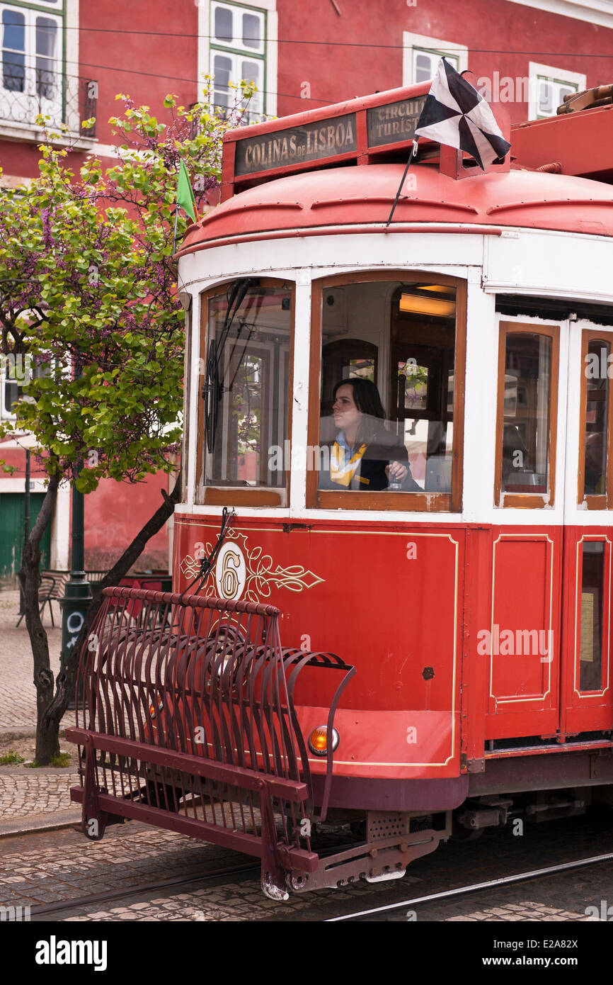 Portugal, Lisbon, the Alfama district, the tramway is the most convenient means of transport - Stock Image
