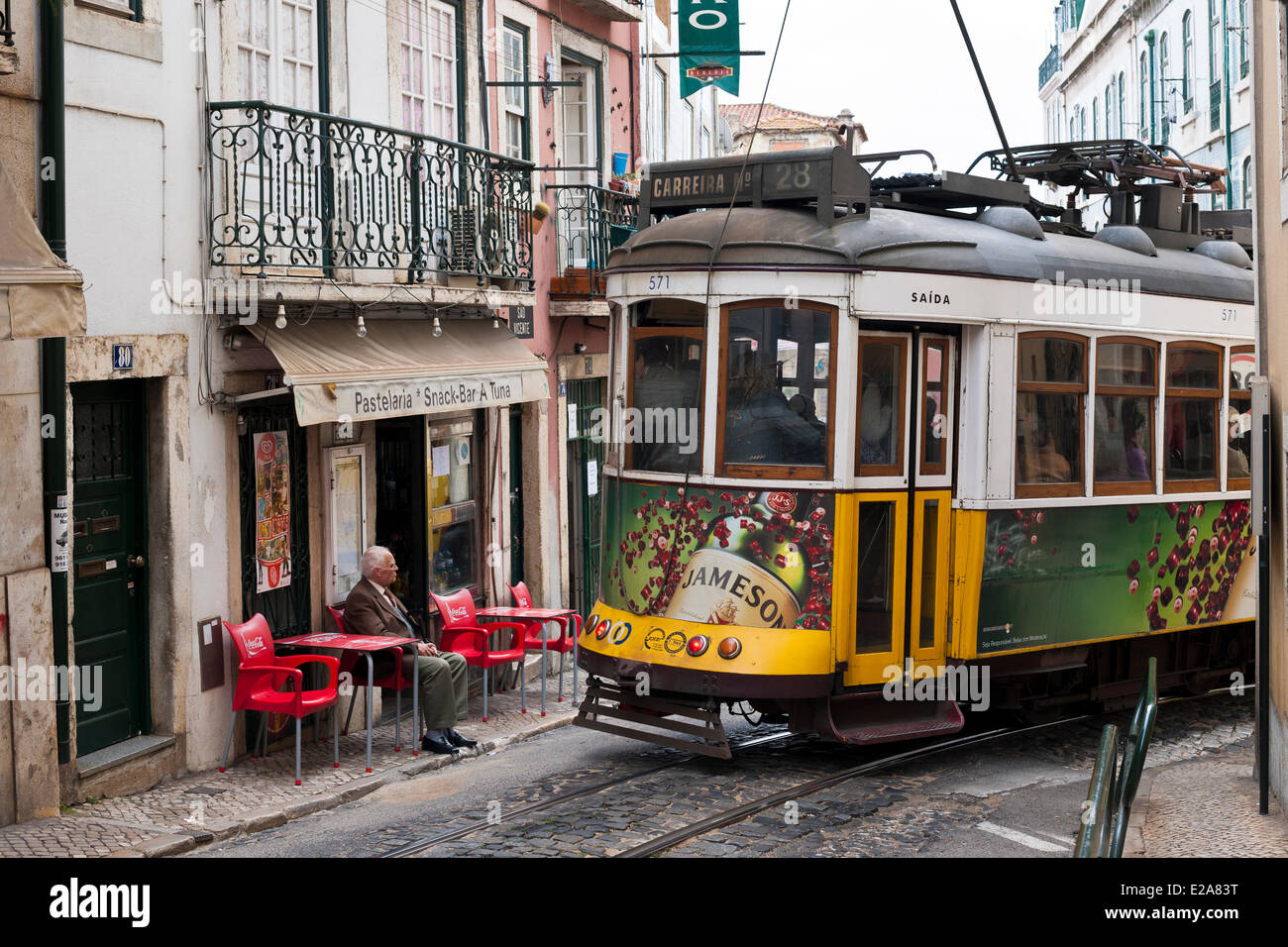 Portugal, Lisbon, the tramway is the most convenient means of transport - Stock Image