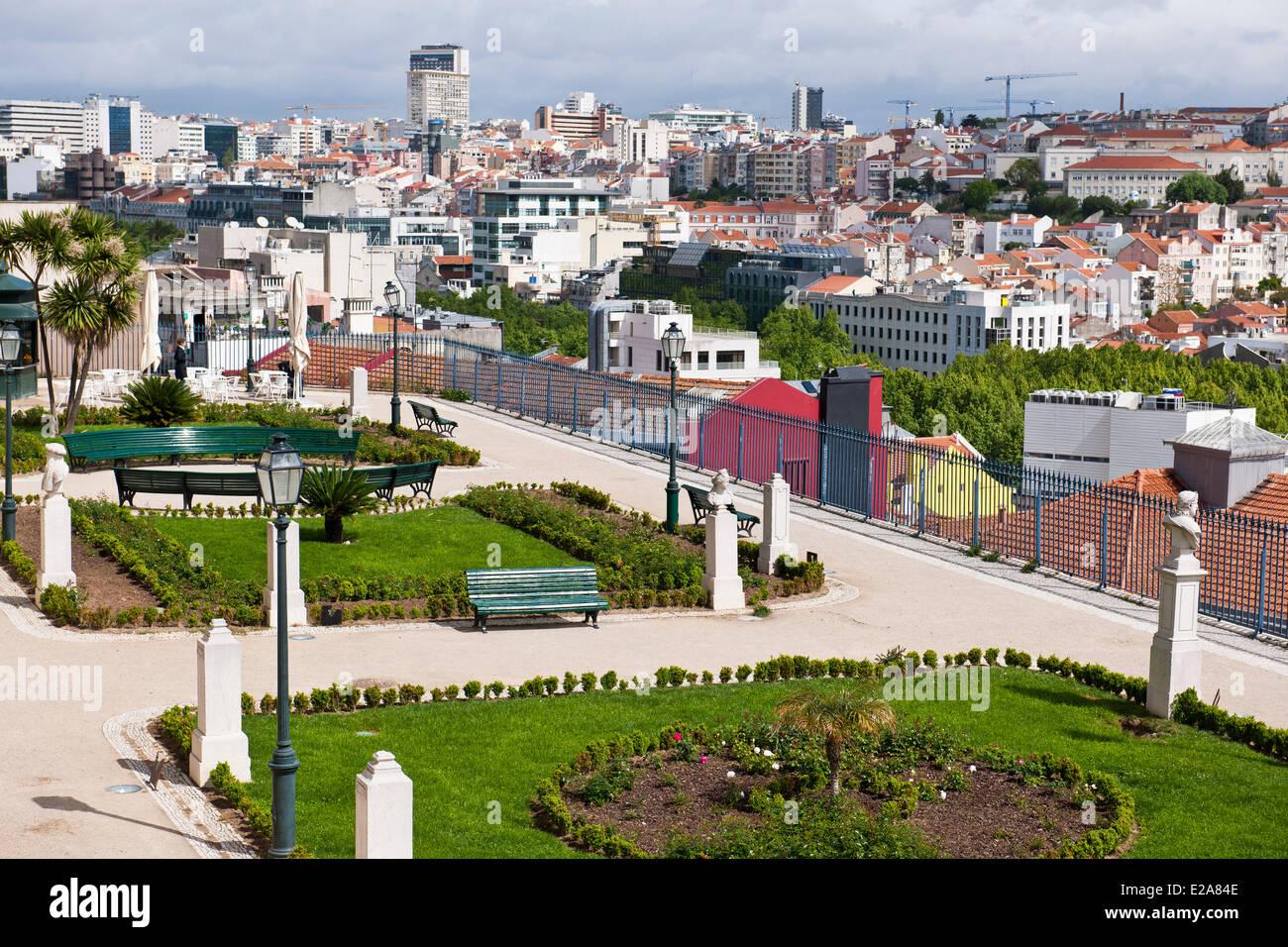 Portugal, Lisbon, the viewpoint Sao Pedro de Alcantara - Stock Image