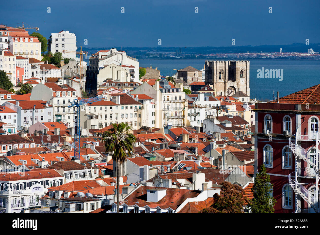 Portugal, Lisbon, panorama from the viewpoint Sao Pedro de Alcantara - Stock Image
