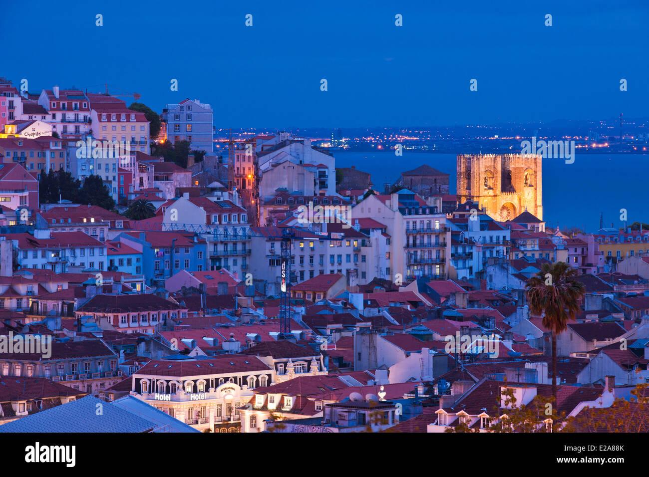 Portugal, Lisbon, panorama from the viewpoint Sao Pedro de Alcantara - Stock Image