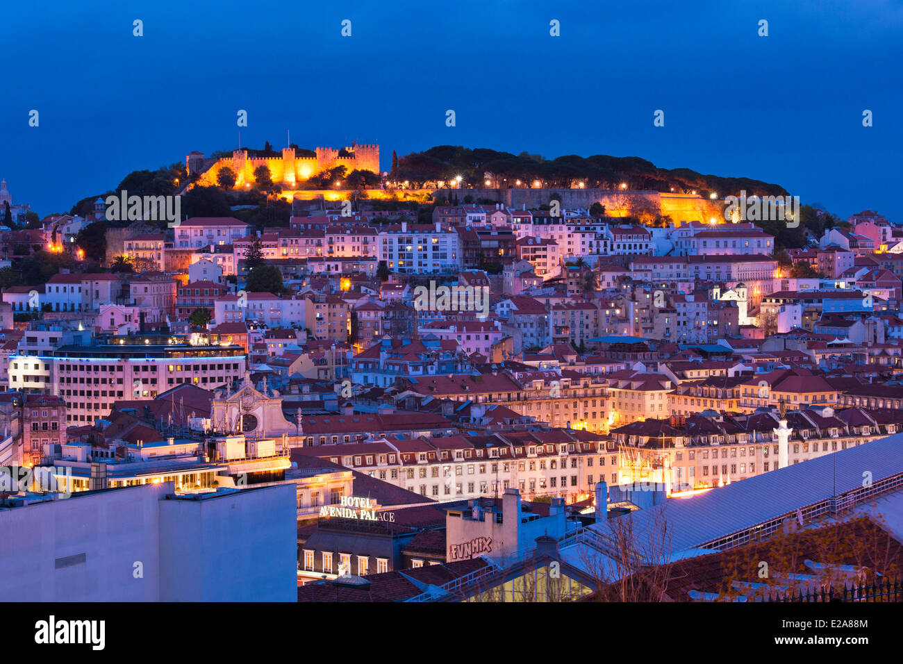 Portugal, Lisbon, panorama from the viewpoint Sao Pedro de Alcantara, the castle Sao Jorge overlooks the city - Stock Image