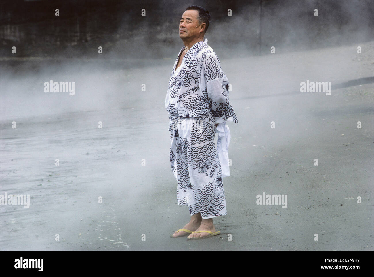 Japan, Kyushu Island, Ibusuki, Bather in yukata (light dress) - Stock Image