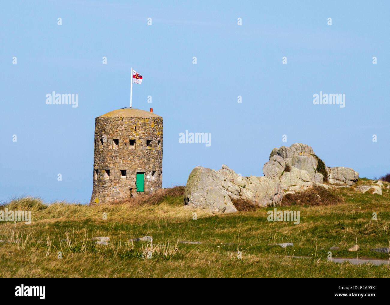 guernsey uk Martello tower loophole island - Stock Image