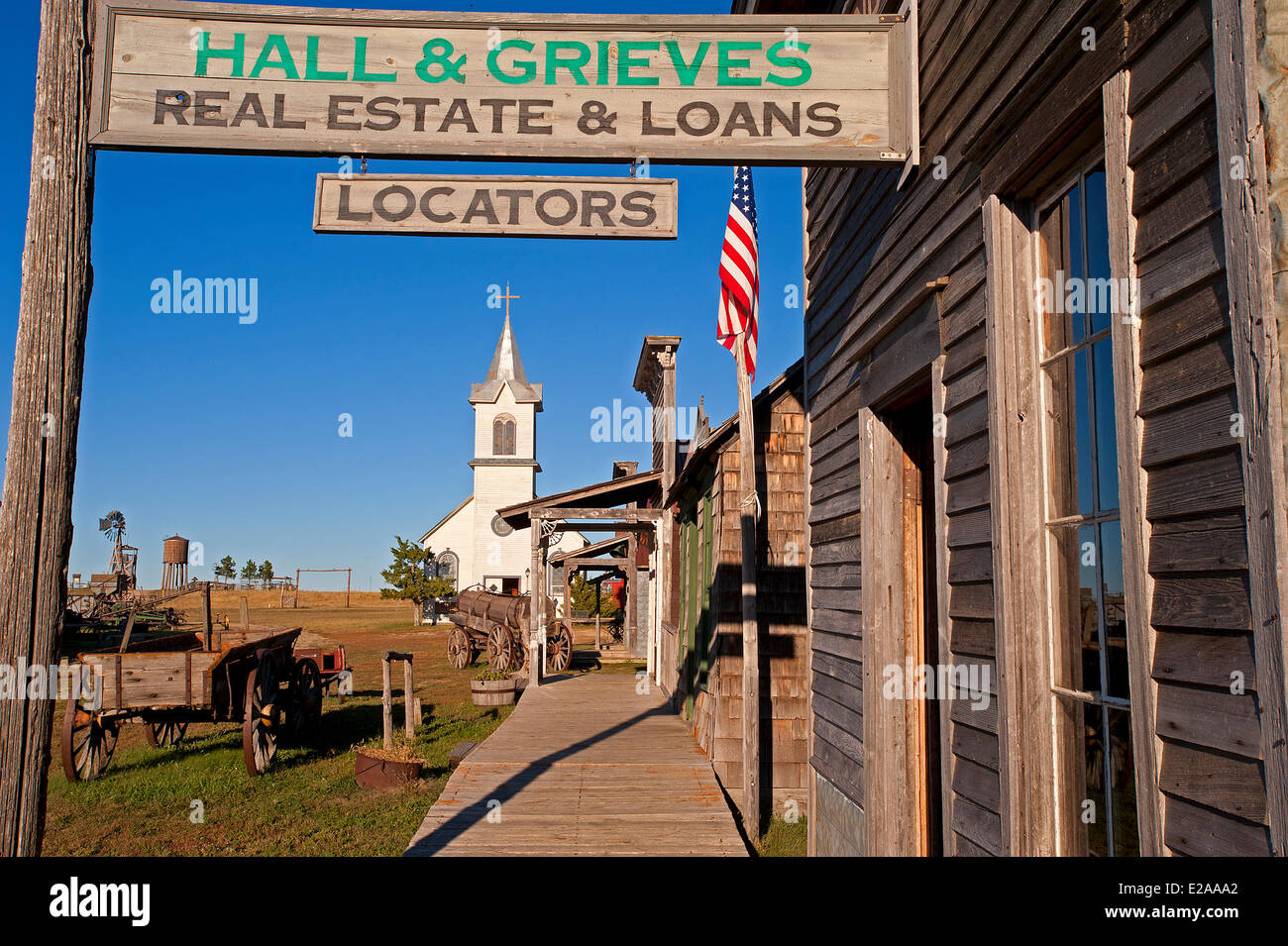 United States, South Dakota, The 1880 Town consists mainly of old buildings and it has been expanded with many additional - Stock Image