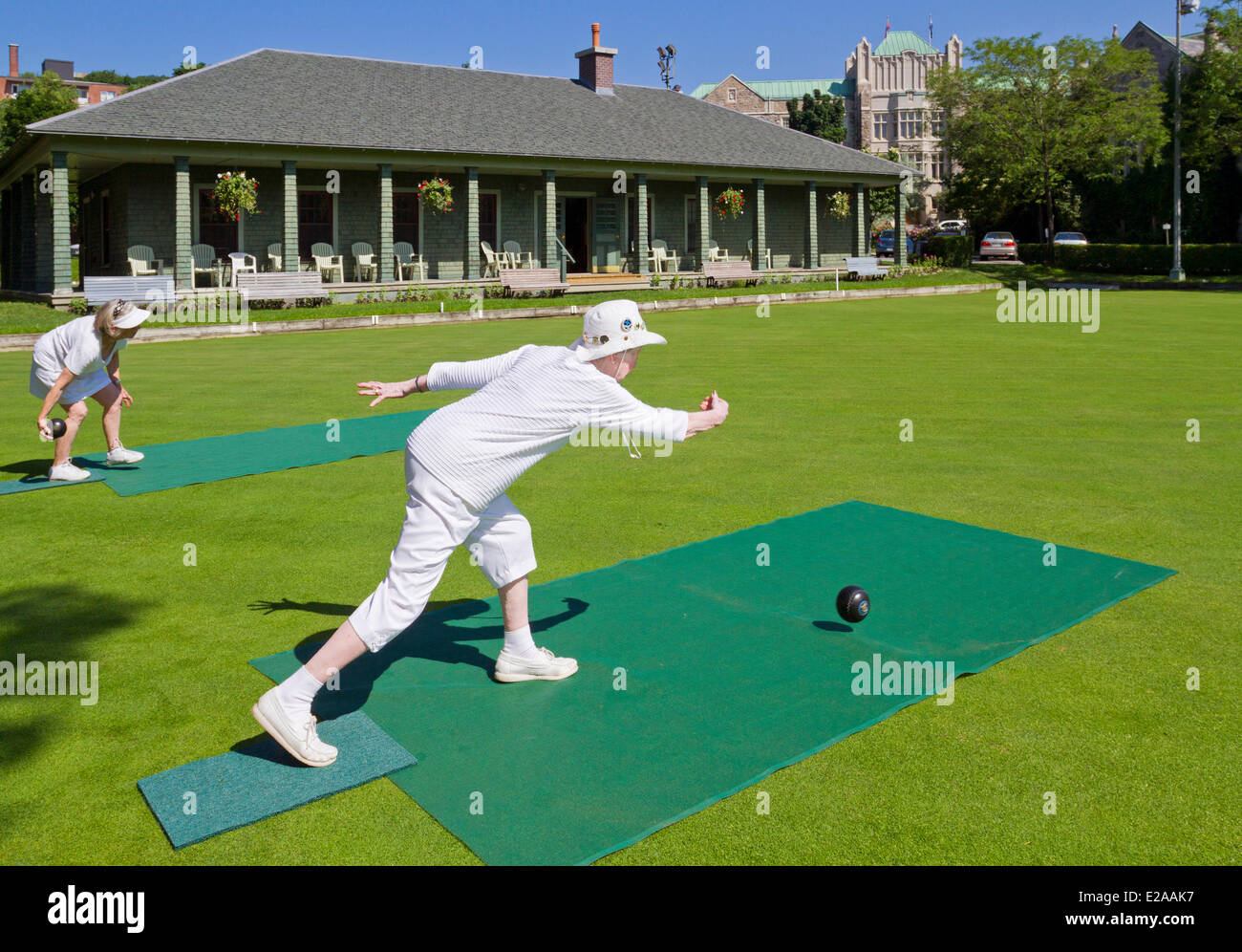 Canada, Quebec Province, Montreal, Westmount, the lawn bowling field - Stock Image