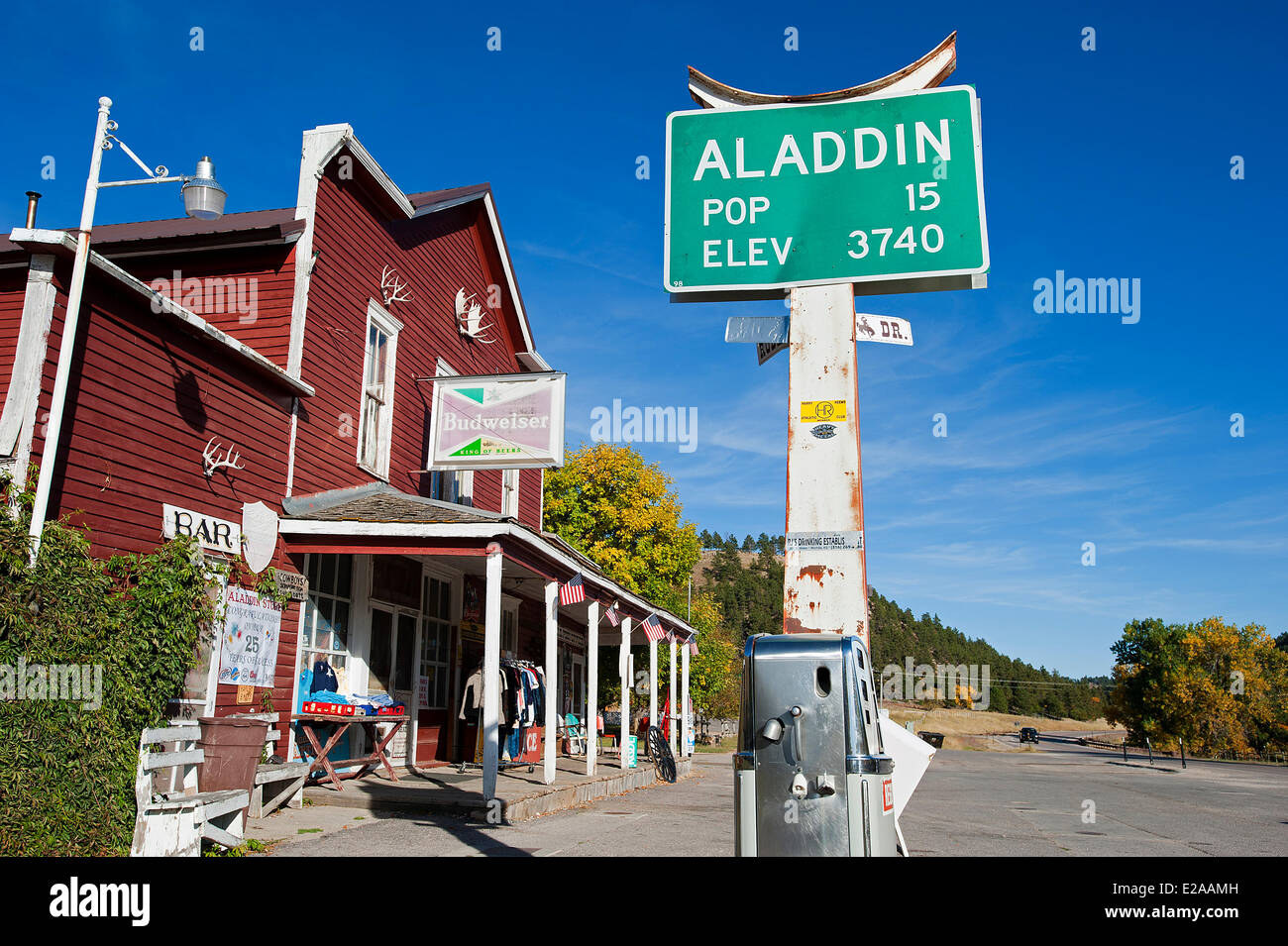 United States, Wyoming, Aladdin, the smallest village in the West with a population of 15 - Stock Image