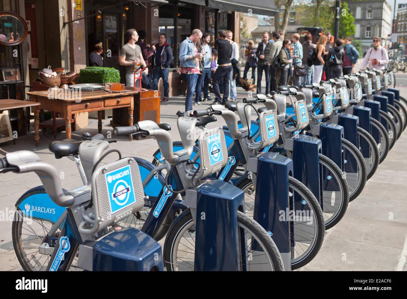 United Kingdown, London, East End district, free bike rental - Stock Image