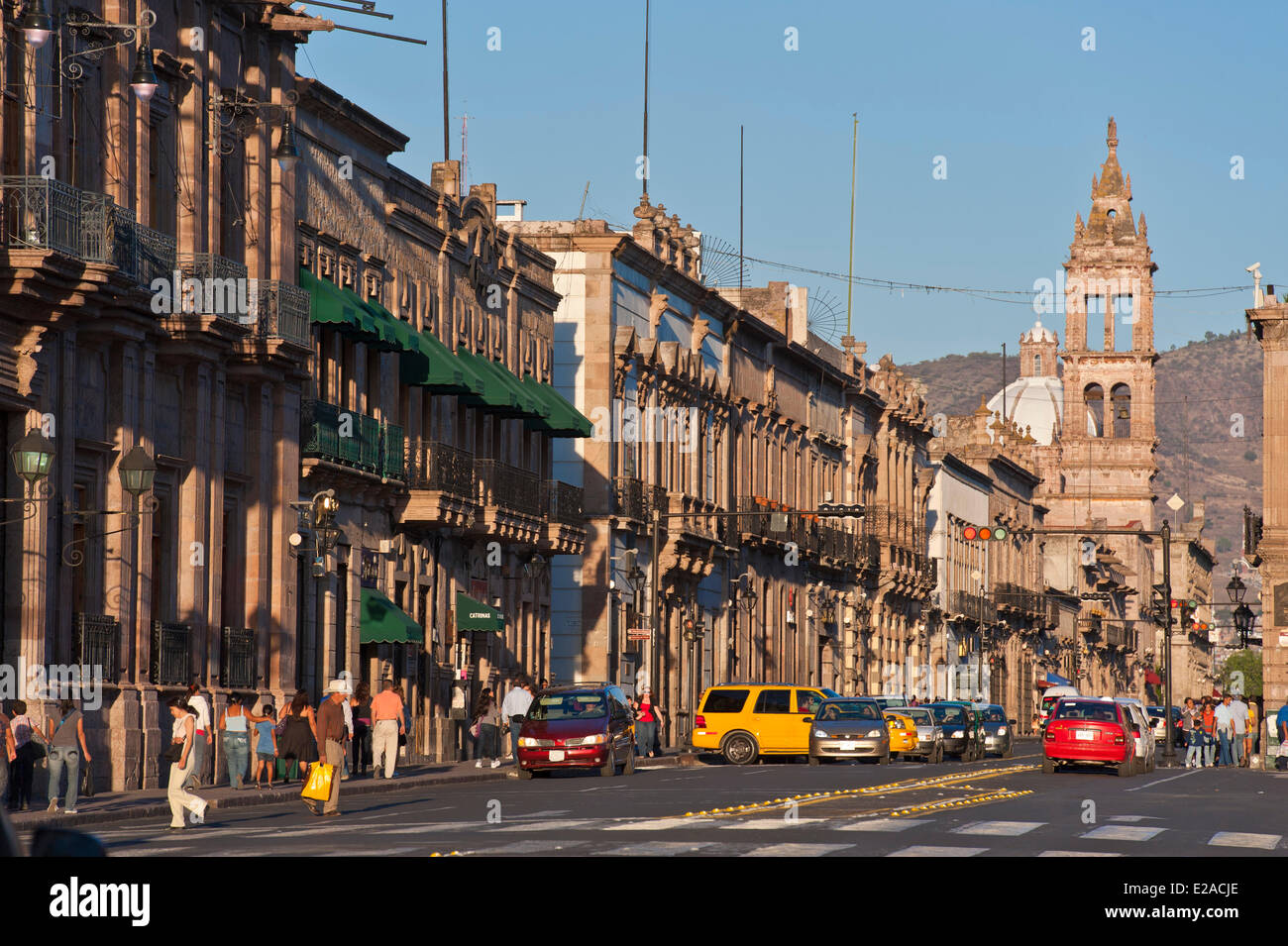 Mexico, Michoacan state, Morelia, listed as World Heritage by UNESCO, Modero avenue - Stock Image