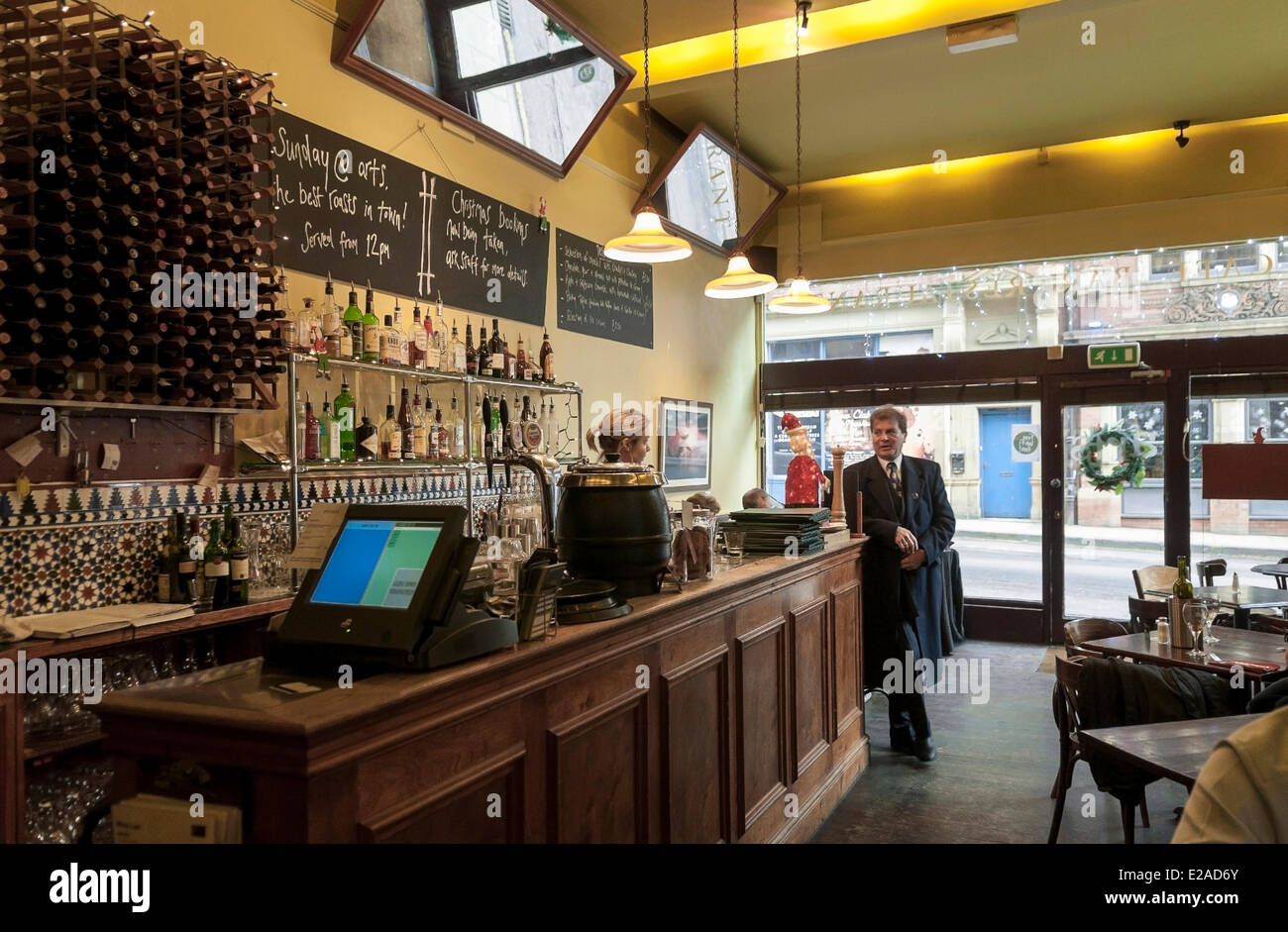 United Kingdom, Yorkshire, Leeds, downtown, restaurant and bar in the trendy quarter of Call Lane - Stock Image