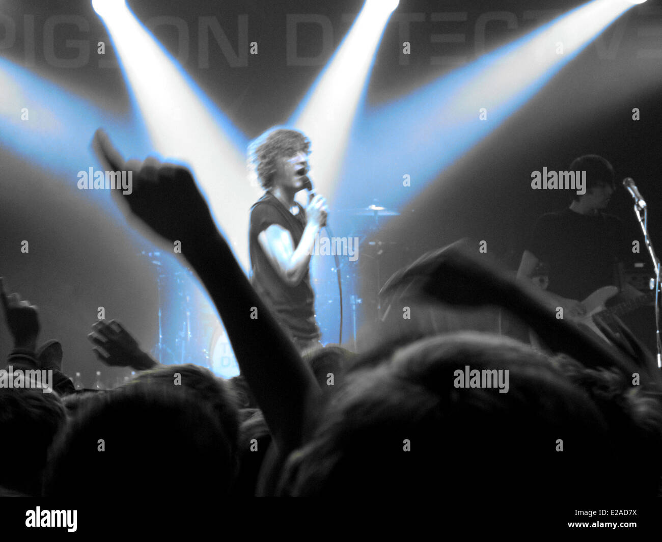 United Kingdom, Yorkshire, Leeds, night rock show at Leeds Academy, The Pigeon Detective, local rock band - Stock Image