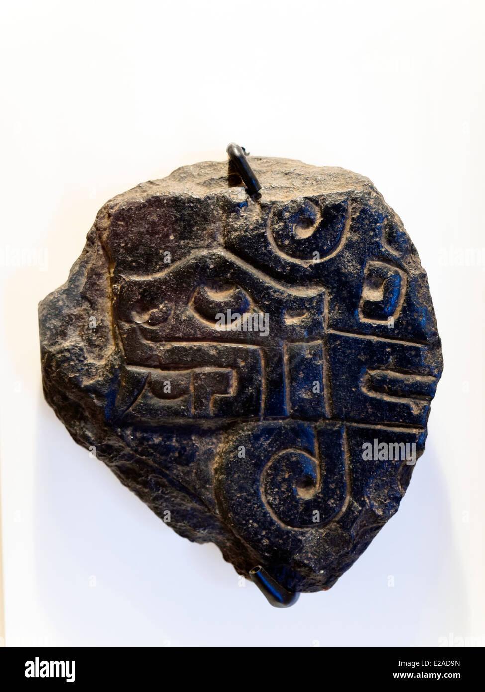 Stone Slab Cupinisque Formative period, 1250 BC - ! AD Museo de Arte Precolombino, Cusco - Peru  In this stone slab - Stock Image