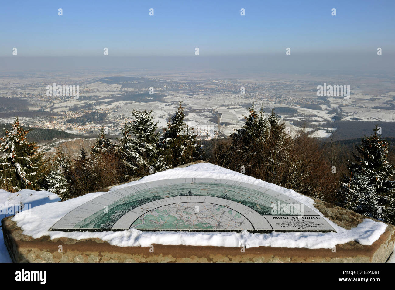 France, Bas Rhin, Mont Sainte Odile, Viewpoint indicator over the plain of Alsace - Stock Image