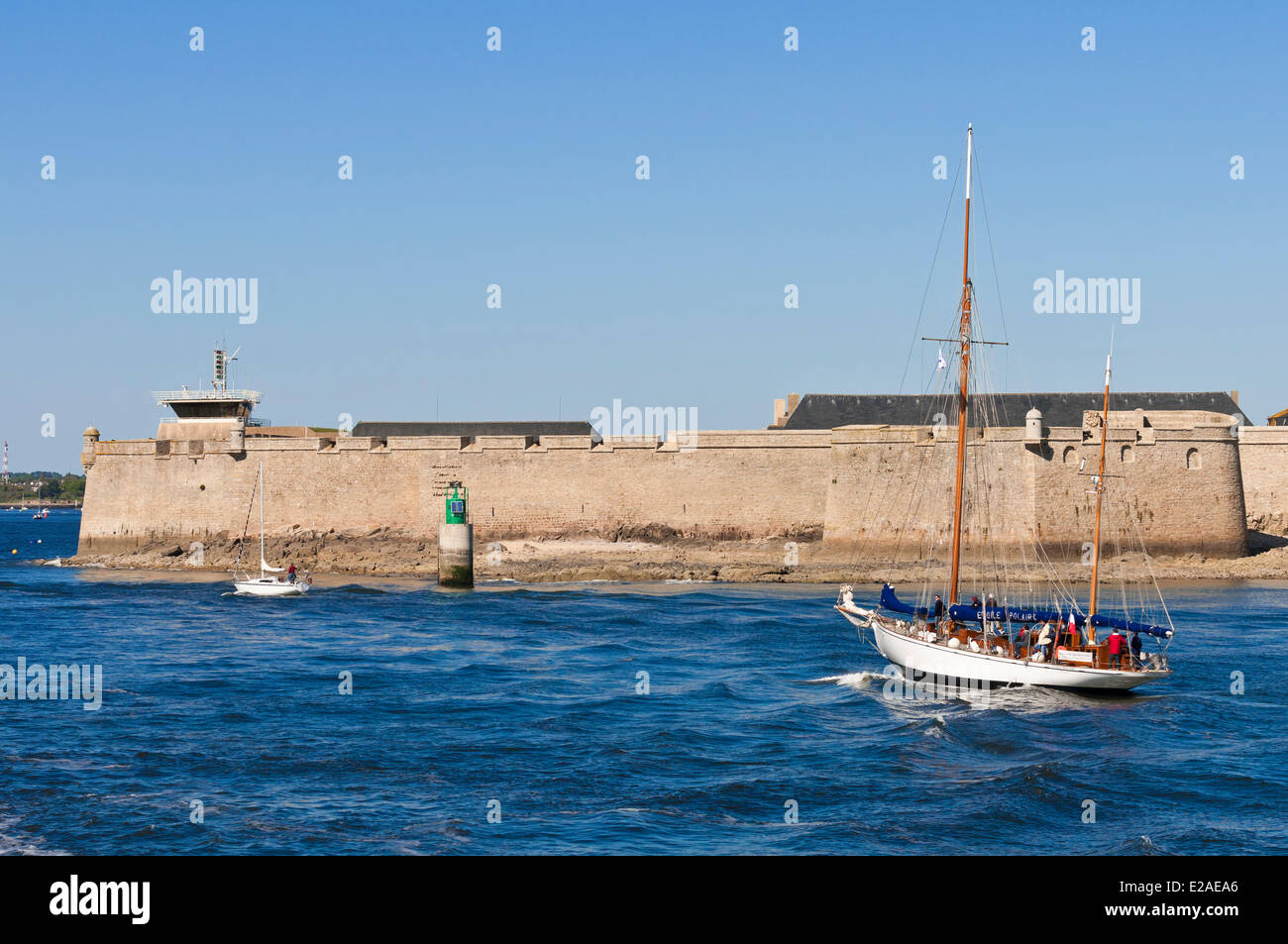 France, Morbihan, Lorient, Port Louis citadel modified by Vauban at the entrance of Lorient harbour Stock Photo