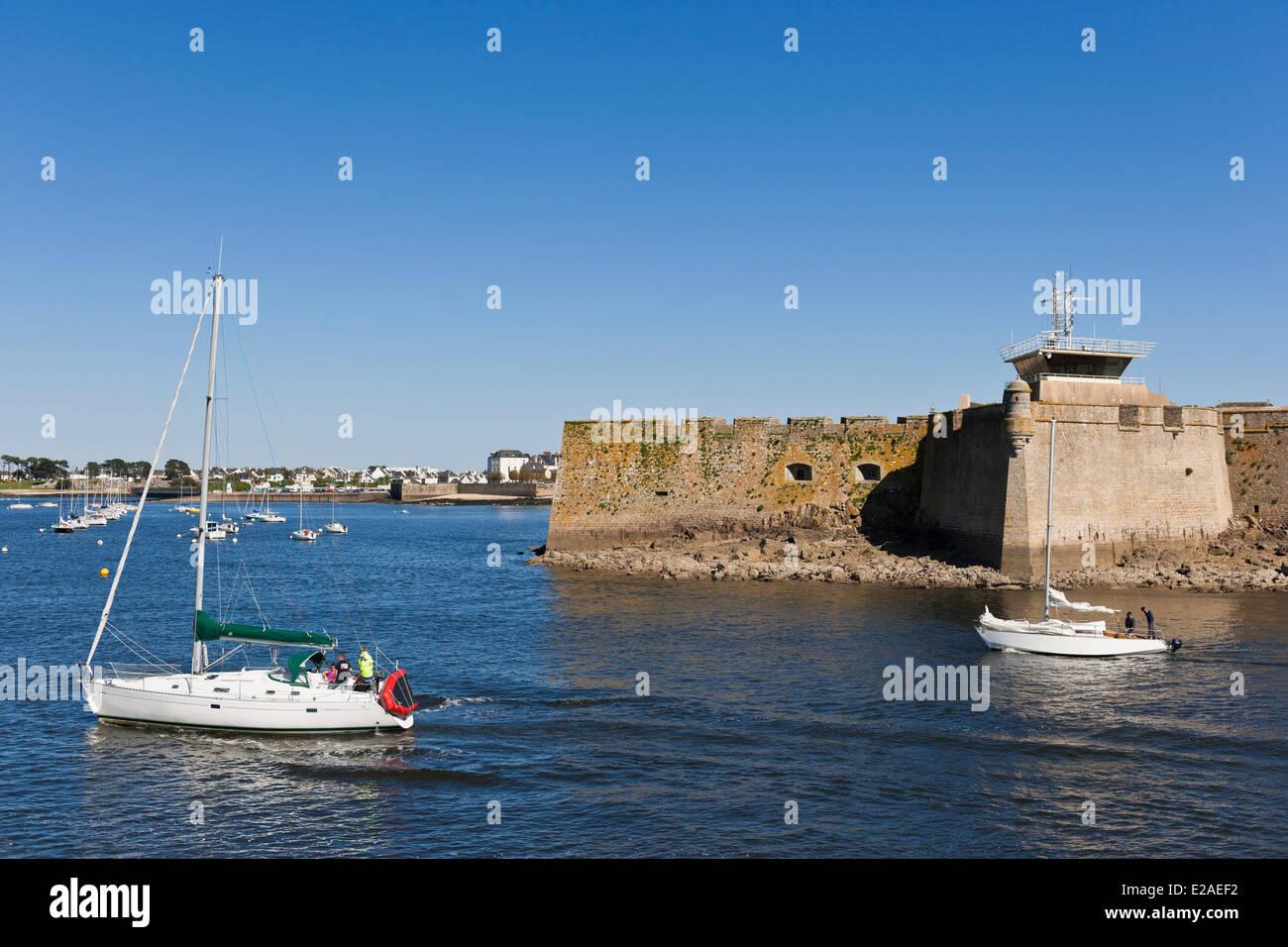France, Morbihan, Lorient, Port Louis citadel modified by Vauban at the entrance of Lorient harbour Stock Photo