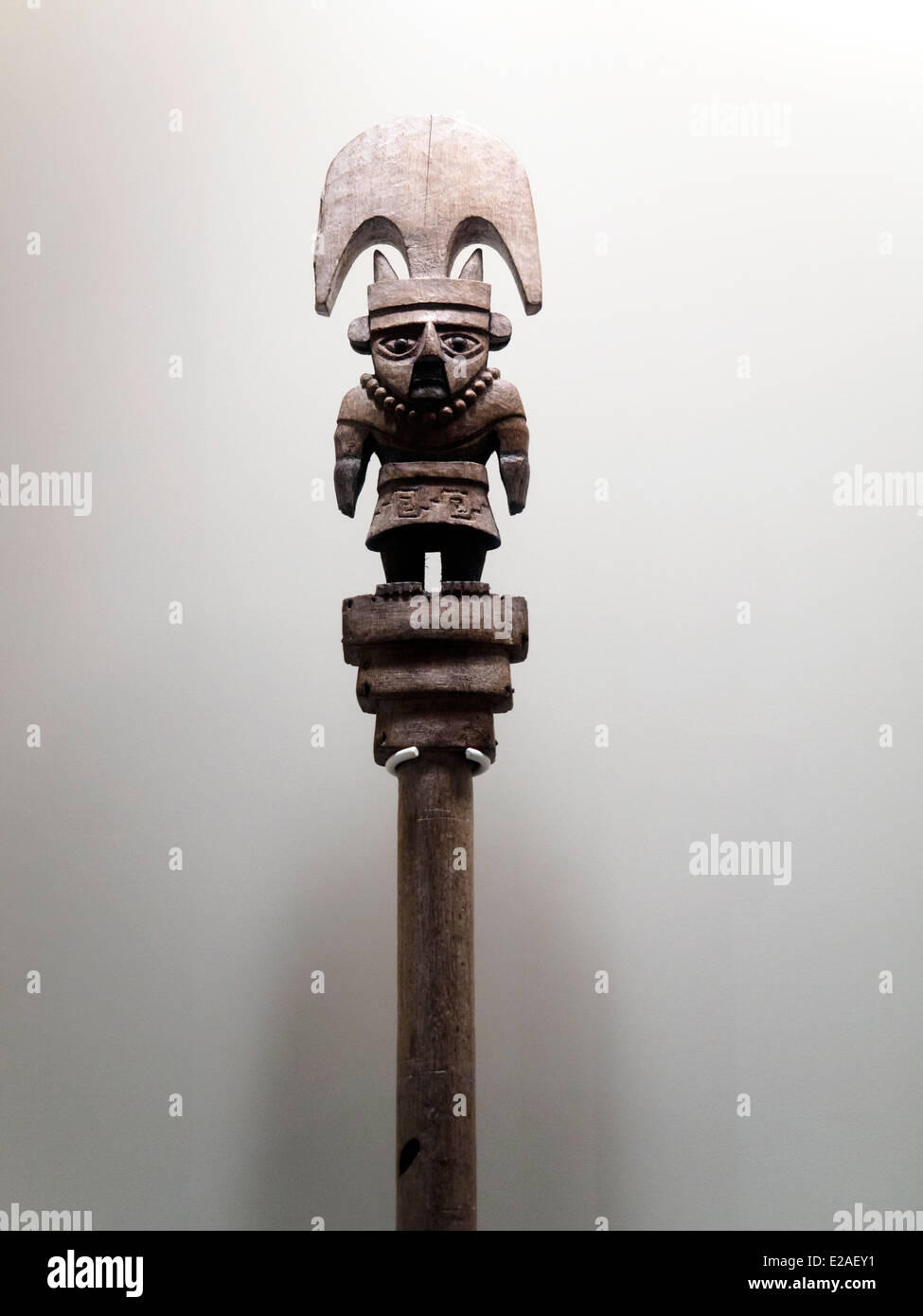 Ceremonial staff detail Mochica Classic period 1-800 AD Museo de Arte Precolombino, Cusco - Peru  From time immemorial - Stock Image