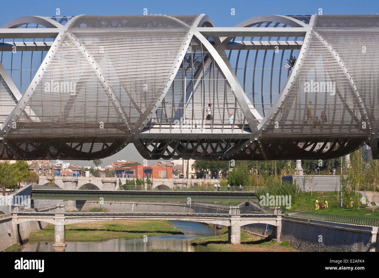 Spain, Madrid, Rio Madrid park along Manzanares river opened in 2011, Monumental Bridge Arganzuela of French architect Stock Photo