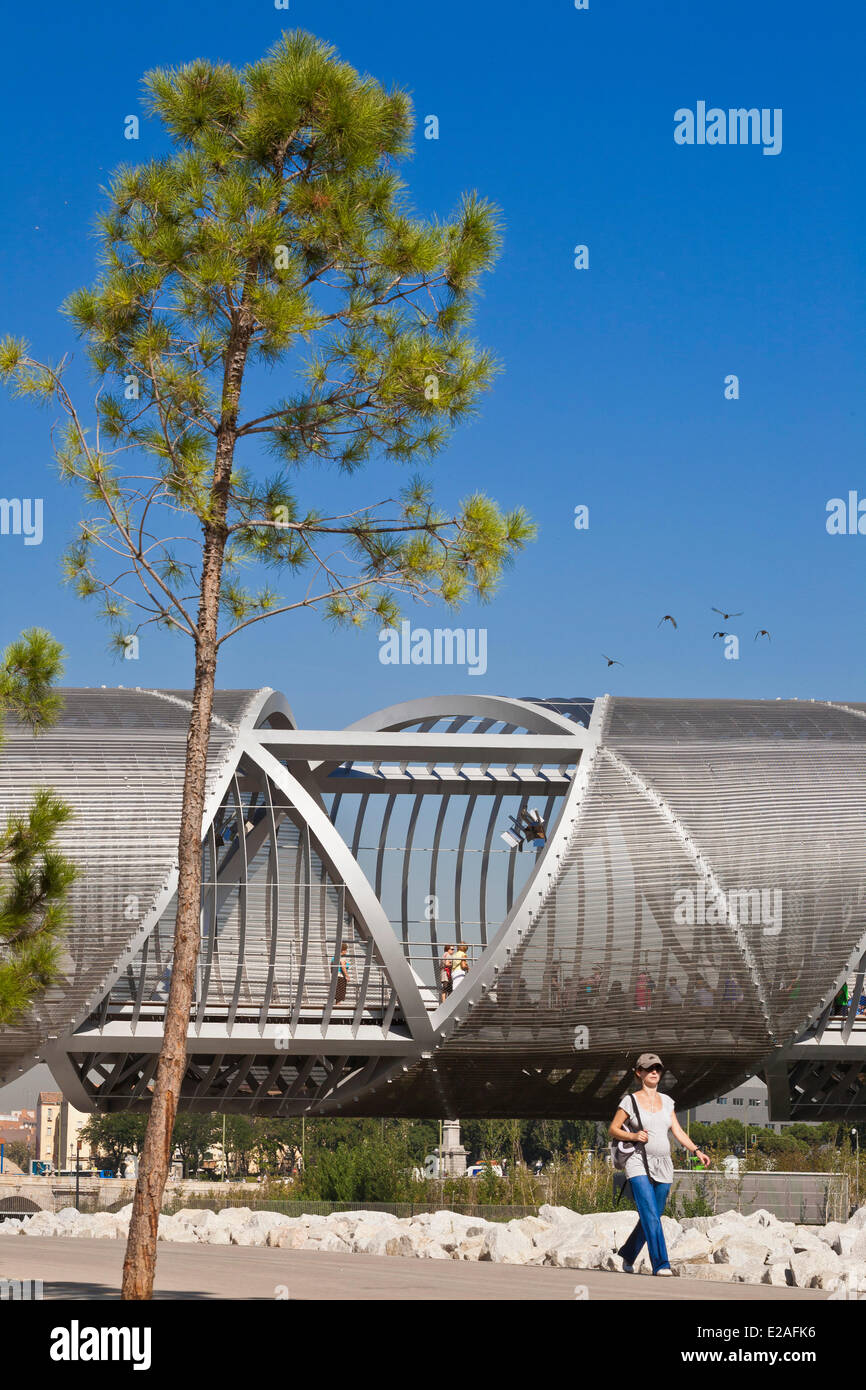 Spain, Madrid, Rio Madrid park along Manzanares river opened in 2011, Monumental Bridge Arganzuela of French architect Stock Photo