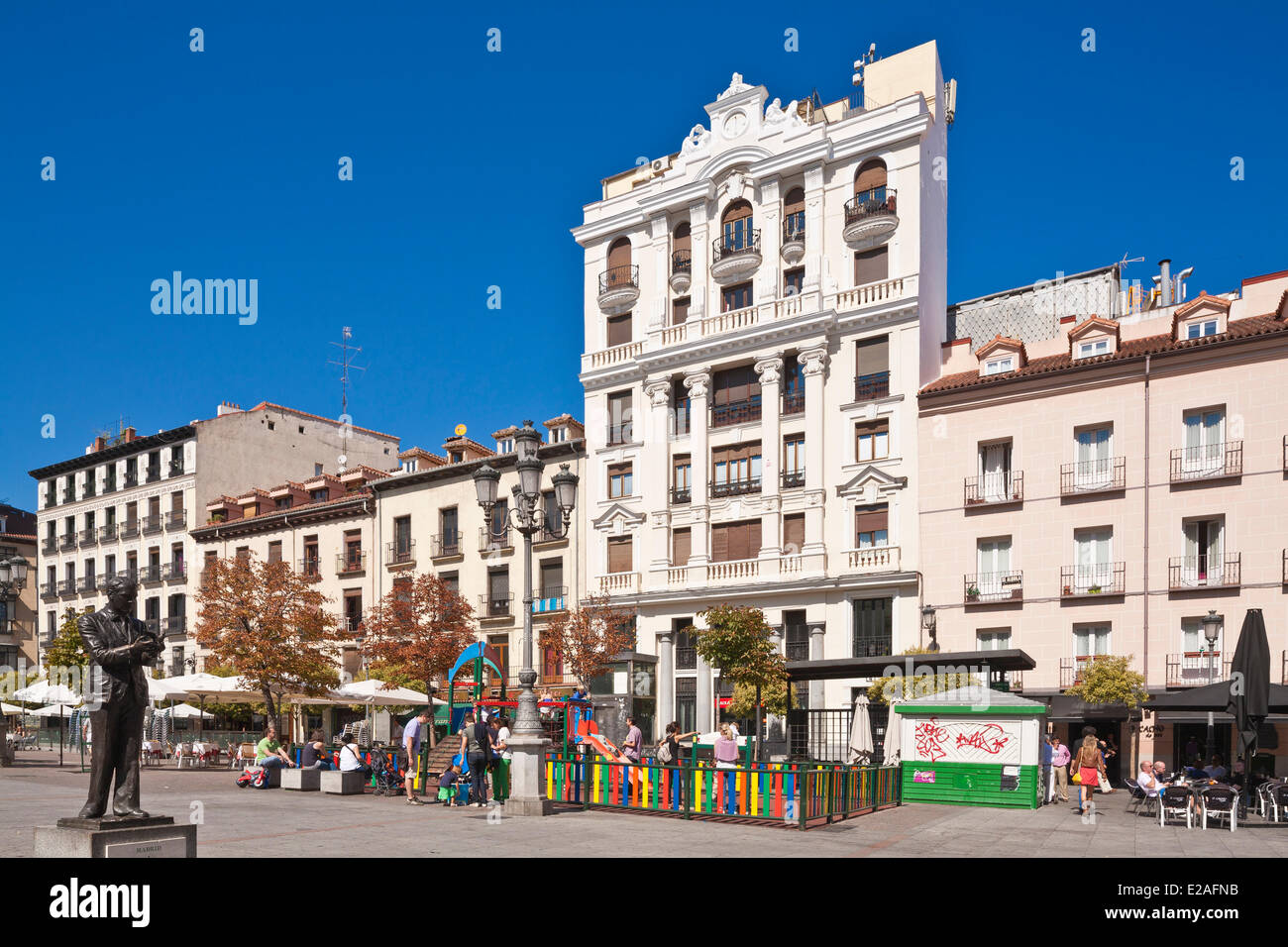 Spain, Madrid, Plaza Santa Ana, Teatro Espanol and Garcia Lorca statue - Stock Image