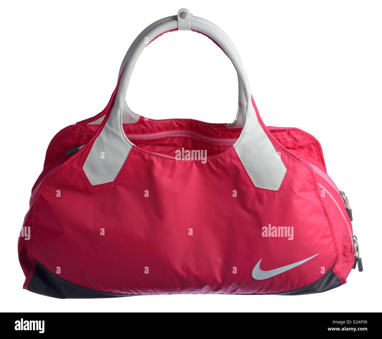Insignia Punto muerto idiota  Pink Nike gym bag cut out isolated on white background Stock Photo - Alamy
