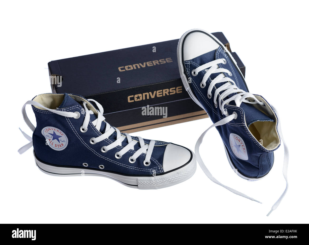 Blue Converse Chuck Taylor All Star shoe pair and box Stock Photo ... 70dcf88829d