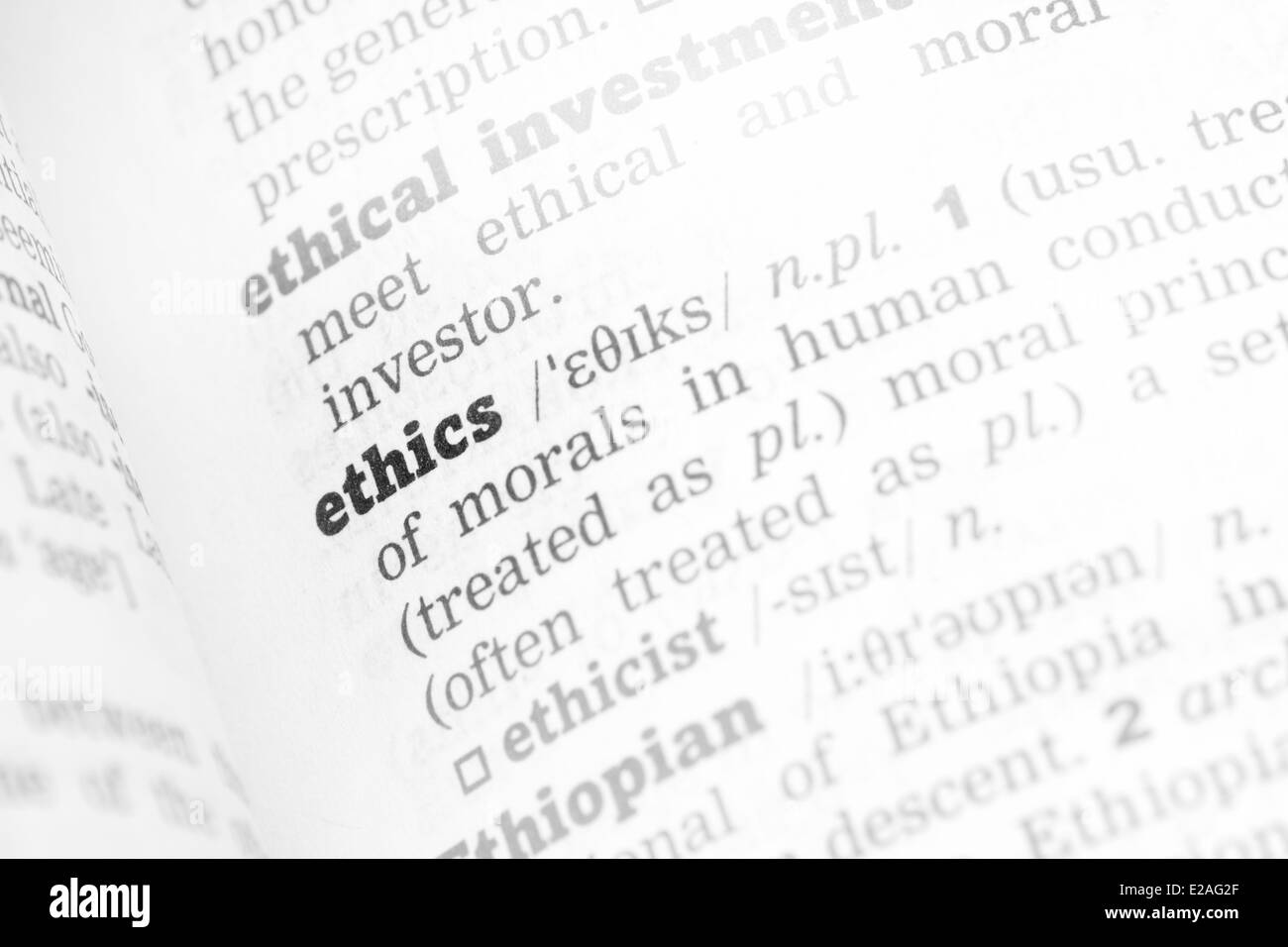 Ethics Dictionary Definition single word with soft focus - Stock Image