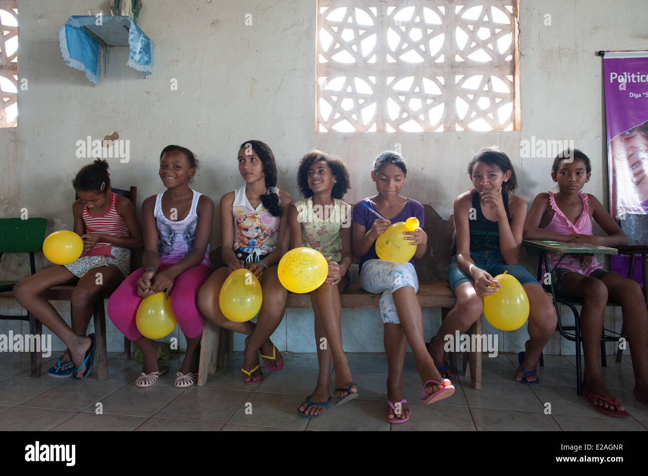 Gender and girls' football project/workshop of the child welfare organisation Plan International for empowering - Stock Image