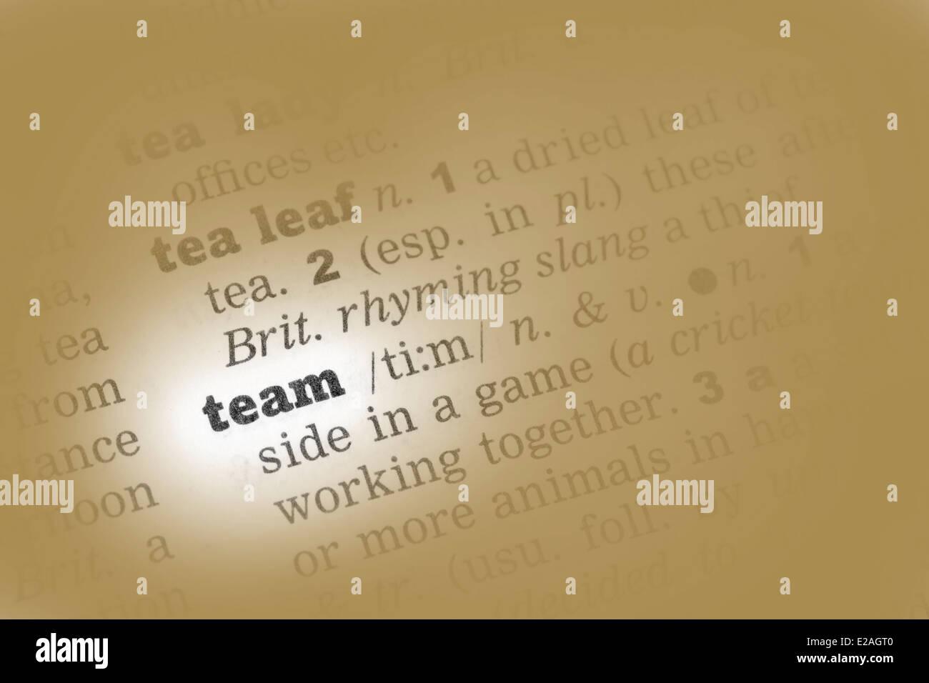 Team Definition Of Team At Dictionary Com >> Team Dictionary Definition Single Word Stock Photos Team