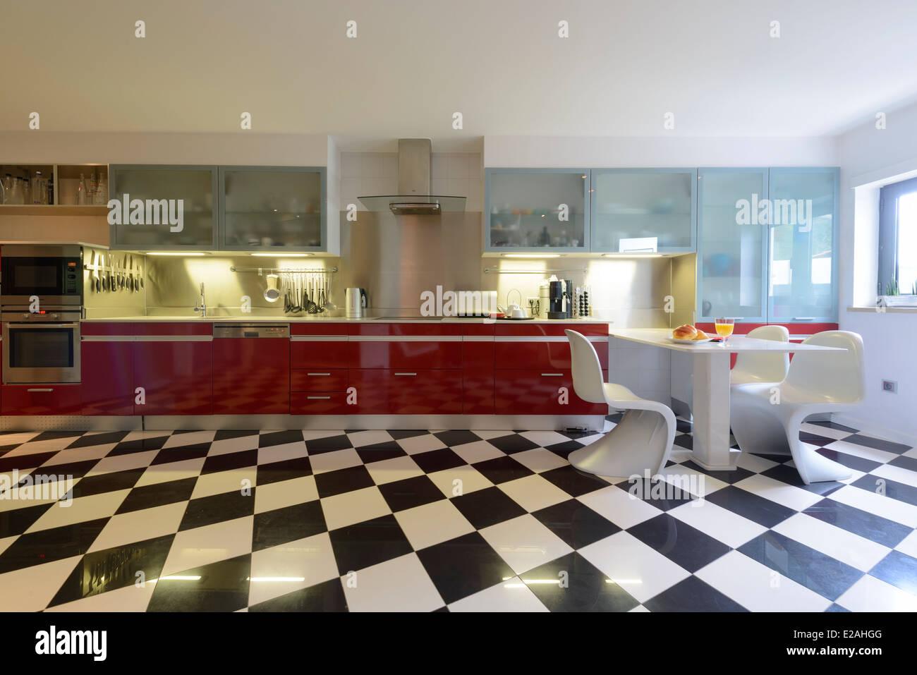 Modern Kitchen Interior With Checkered Floor