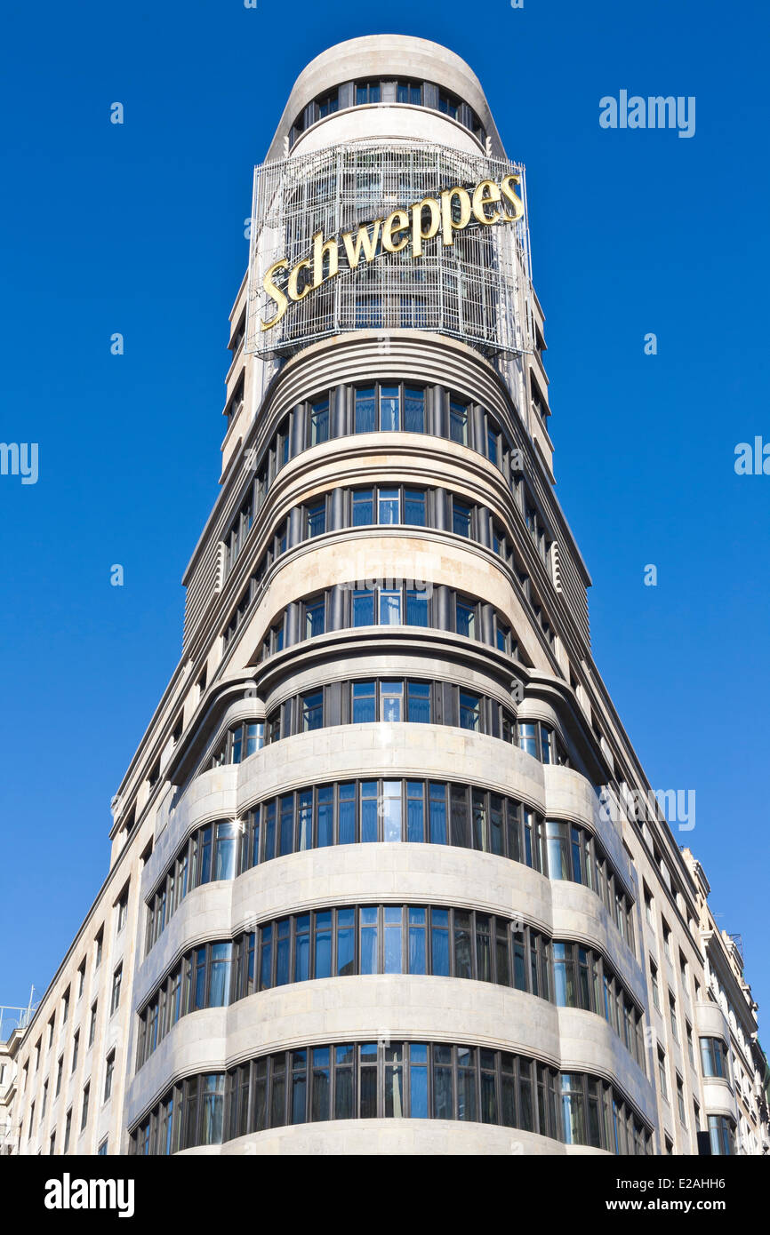 Spain, Madrid, Gran Via, downtown main artery, Carrion edifice designed by architects Luis Martinez-Feduchi and Stock Photo