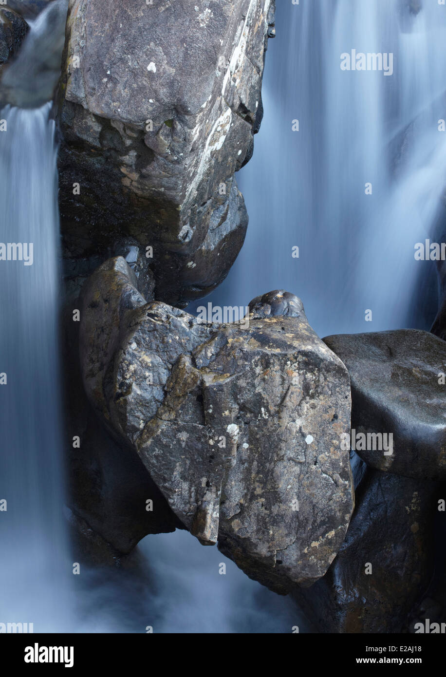 Abstract study from the Fairy pools waterfalls, Glen Brittle, Isle of Skye, Scotland - Stock Image