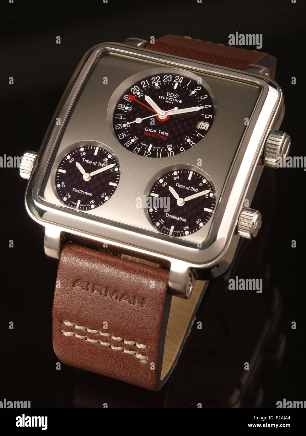 Glycine Airman 7 Plaza Mayor watch with leather strap - Stock Image