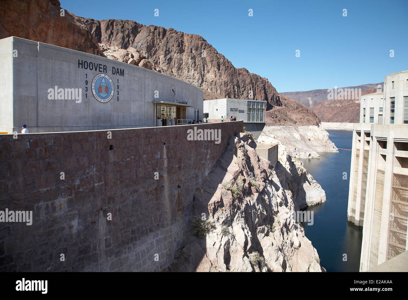 Hoover Dam water inlet tower, Colorado River border between the states of Nevada and Arizona, USA, April 2014. Stock Photo