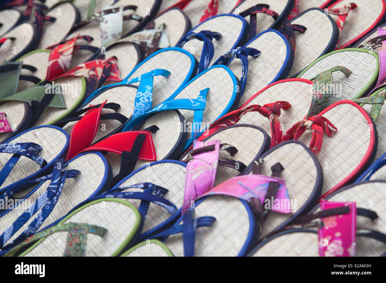 Flip-flops for sale in shop, Hoi An (UNESCO World Heritage Site), Quang Ham, Vietnam - Stock Image